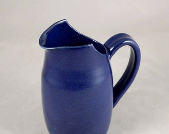 Cut Rim Pitcher in Cobalt Blue