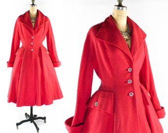 FREE U.S. Ship - Vintage 50s Coat // 1950s Coat // Rare Pink Princess Coat // Flared Coat // Hot Pink Coat - sz M
