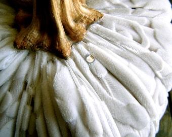 "Ivory Silk Velvet Burnout Scroll Design Velvet Pumpkin With Natural Stem Swarovski Clear Crystal Accent 9"" Diameter"