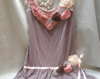 25% OFF Love my customers TUNIC Top Whimsical Boho Romantic Laces - Reworked slip - Mocha, Pale Pink and Ivory
