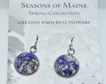 Jewelry made with real flowers-Flower Petal Earrings made with Maine Grown Flowers-Made in Maine Jewelry-Maine nature inspired jewelry