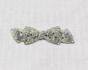 20s 30s Vintage Silver Tone Bow Brooch with Blue and Clear Rhinestones