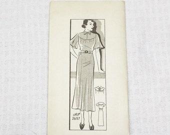 1930s Vintage Dress Pattern Ann Adams 2657 38 Inch Bust