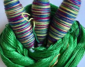 Glorious Greenery Scarf weaving kit-Raspberry, blue, yellow, green-Handmade-Handwoven-Rigid heddle loom- Floor loom-Weaving