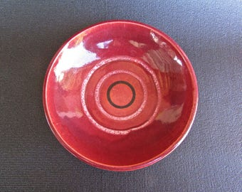 Hutton Pottery From California, Tomato-Pink/Red Outer. Textured Low-Bowl
