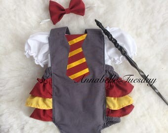 Harry Potter Baby Hogwarts Ruffle Bottom Romper Three Piece Outfit Set Or Costume Size Newborn to 24 Months