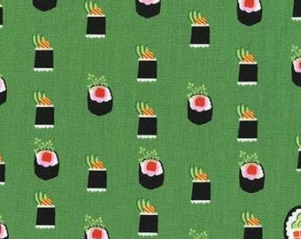 One (1) Yard - Maki Sushi Fabric Michael Miller DC7464-AVOC-D Green