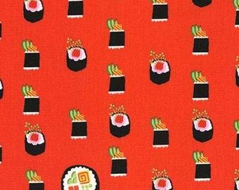 Five (5) Yards - Maki Sushi Fabric Michael Miller DC7464-GING-D Ginger Orange-Red