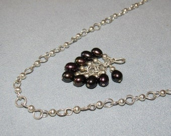 """Handmade Sterling Chain Necklace , Pearl Pendant removable Enhancer, 20"""""""