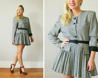 ON SALE 1980s Houndstooth Mini Dress or Blazer >>> Small to Medium