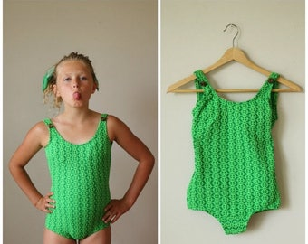 25% OFF SALE NOS, 1960s Key Lime Swimsuit>>> Girls Size 8/10