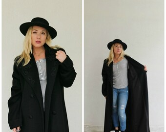 1990s Forstmann Overcoat in Black /// Size Large to Extra Large