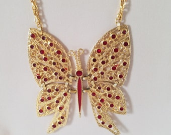 Vintage/Mid Century/Retro Gold Tone Butterfly Necklace