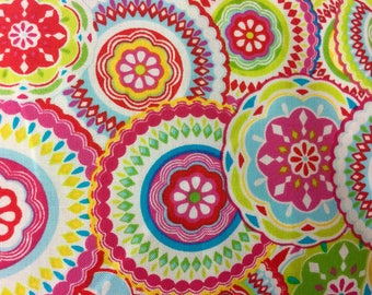 """Pink Lime Circle Medallions Valance Topper  New Window Curtain Treatment Cotton Fabric 42""""W x 15""""L"""