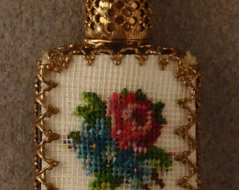 CZECH PERFUME Mini  Embroidered floral PetitPoint  app 1 3/8 x 3/4 x 1/4 in