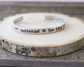 Cuff Bracelet - Boho Bracelet - Stamped Aluminum Bracelet - Surrender to the flow- stocking stuffer - Phish