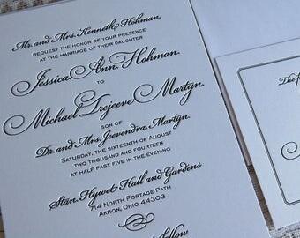Letterpress Wedding Invitation Sample, Wedding Invitation, Classic Wedding Invitation, Invitation Suite, Calligraphic Wedding Invitation