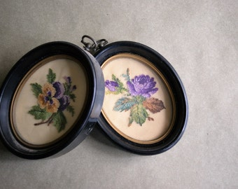 Vintage Framed Petit Point Flowers Lavender and Yellow Pansies, Purple Roses,  Cottage Decor, Romantic Wall Hanging