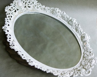 Vintage Vanity Mirror Tray Ornate Metal Oval Shape White Cottage Decor Gift for Her Perfume Display Holder by Emig