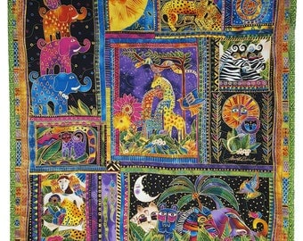 Wall Hanging Quilt in Laurel Burch Bright Jungle Print