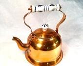 Copper kettle porcelain handle vintage copper kettle  blue  and white   handle