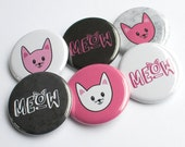 Pink Pussycat Buttons – Kitty Buttons – Meow Buttons – Pink Cat Buttons – Pink & Black Buttons – Pussycat Buttons – Cat Lover – Cat Pins