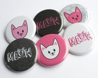 Pink Pussycat Pin – Cat Button – Pussycat Button – Pin Badge – Cat Pin – Cat Party Favors – Meow Buttons – Kitty Pins – Pink and Black Cats
