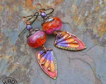 Butterfly Wing, Lampwork Earrings