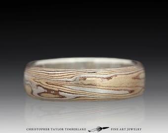Mokume Gane Etched Sterling Silver, Shakudo, Kogane Ring