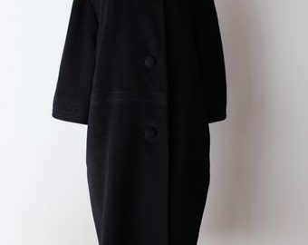 RESERVED | Vintage 1950s Lilli Ann Coat With Fur Collar ~ Vintage 50s Black Lilli Ann Cocoon Style Coat with White Mink Collar Size XL