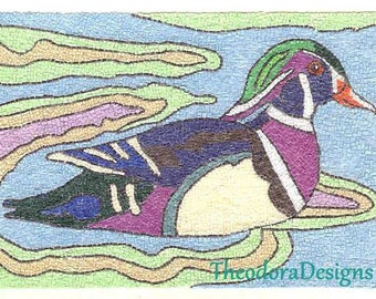 Mosaic Duck  ACEO Print Purple Blue