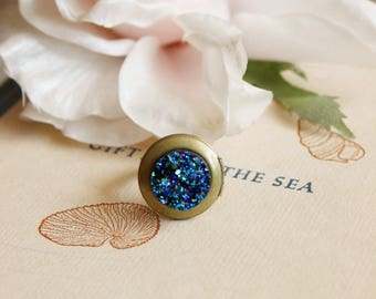 Stardust.  Blue Faux Drusy Locket Ring.  Adjustable Brass Band
