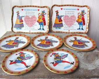 7 pc Vintage tin toy dishes metal childrens dishes Queen of Hearts 2 trays 3 plates 2 saucers