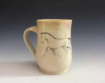 Trotting Dressage Horse Mug- Light Yellow