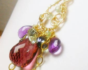 Plum Quartz Green Amethyst Gold Filled Necklace
