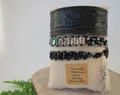 Upcycled leather cuff bracelet ,Wrap Bracelet, Beaded Leather Wrap, Beaded Wrap Bracelet, Boho Wrap Bracelet, Leather Wrap Bracelet