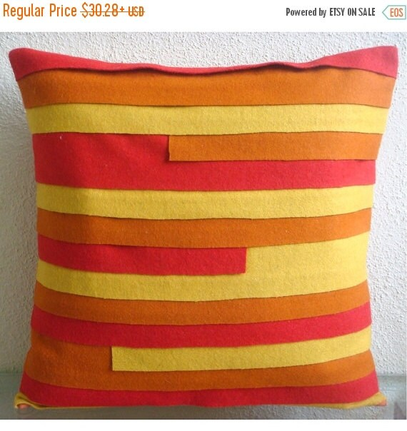 """15% HOLIDAY SALE Luxury  Orange Decorative Pillows Cover, Textured Multicolor Pintucks Pillows Cover 18""""x18"""" Felt Pillows Covers For Couch -"""