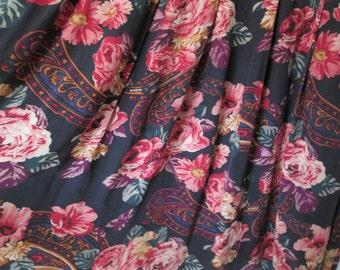 Skirt Silk Floral Vintage Saks Size 10