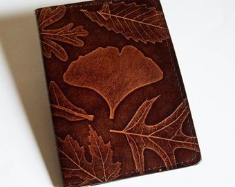 Leather Top-Stub Checkbook Cover with Leaf Design