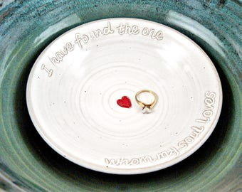 Stoneware white wedding ring bearer dish, handmade Custom engraved ring catcher with red heart, Made in USA