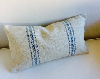 FRENCH LAUNDRY 12x20 Pillow cover BLUE Stripes