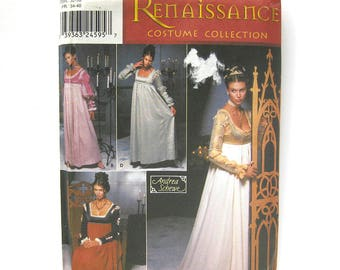 Renaissance Medieval Dress Costume with Gauntlets / Simplicity 9532 / Renaissance Fair / Cosplay / Sewing Pattern Size HH 6-8-10-12 / UNCUT