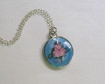 Antique Sterling Enamel Pendant, Sterling Guilloché Pendant Necklace, 1920's Sterling Enamel Necklace (L239)