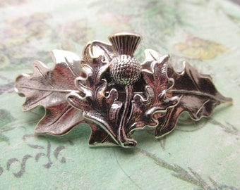 Scottish Thistle Barrette Wedding Hair clips leaf Hair barrettes Bridal hair barrettes Leaves silver Bridesmaids gifts