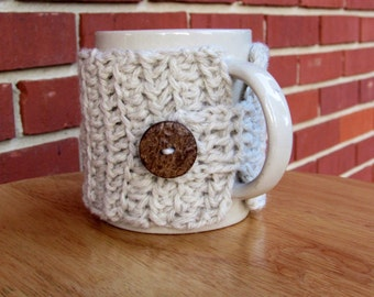 Crochet mug cozy cup cozy in buscuit with coconut wood button