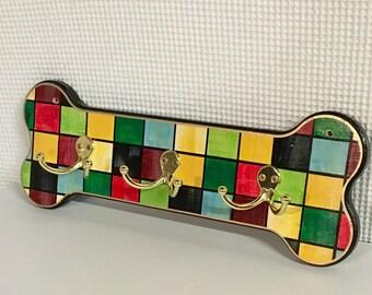 Whimsical Painted Dog Hooks, Wood Dog Organizer, Dog Hooks, Dog Leash Hook, Dog