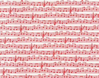 Red And White Apple Jack Music Print 100% Cotton Quilting Fabric