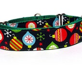"""Martingale Dog Collar Christmas Holiday ORNAMENTS on green webbing 1.5"""" wide, unlined, safety collar, made to order"""