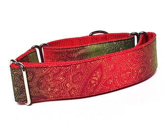 "Martingale Dog Collar HOLIDAY SHIMMER with Red and Green and gold metallic on red webbing 1.5"" wide, unlined, safety collar, made to order"