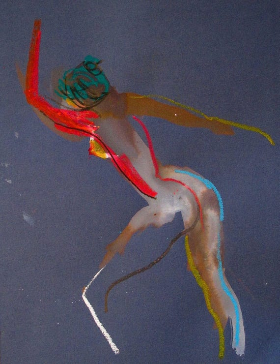 Nude painting of One minute pose 100.7 Original nude painting by Gretchen Kelly